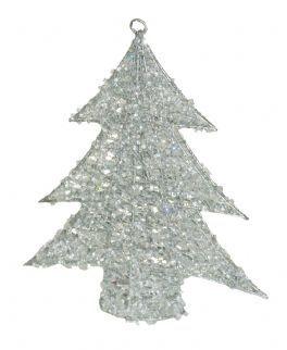 salg af Sølv juletræ med glitter 24 cm.