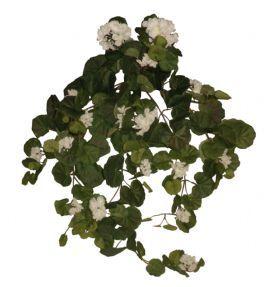 salg af Hvid Pelargonia hængebusk, 70 cm. - kunstige blomster