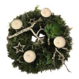 salg af Hvid adventskrans, Ø27 cm. - kunstige adventskranse