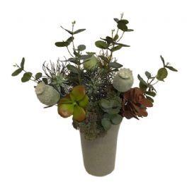salg af Brun/grå buket, håndbunden - kunstige buketter