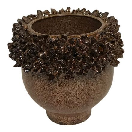salg af Brun skjuler m/blomster kant - Ø9*10 cm.