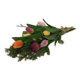 salg af Liggebuket m/tulipaner - håndbunden - kunstige buketter