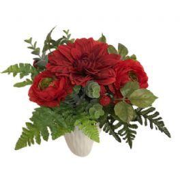 salg af Buket rød, håndbunden - kunstige blomster
