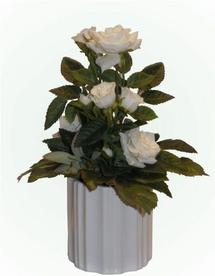 3b7a6d804 Dekoration med hvide roser - 20 cm. - kunstige blomster