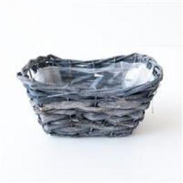 salg af Flet kurv m/plast - m. grå - aflang