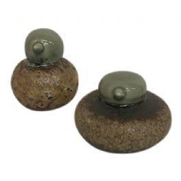 salg af Porcelænsfugl, grøn/brun - 7,5*8,3 cm.