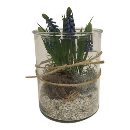 salg af Gaveide, blå perlehyasinter i glas - H18 cm.  - kunstige blomster