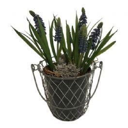 salg af Gaveide, blå perlehyasinter i metalkurv - H25 cm.  - kunstige blomster