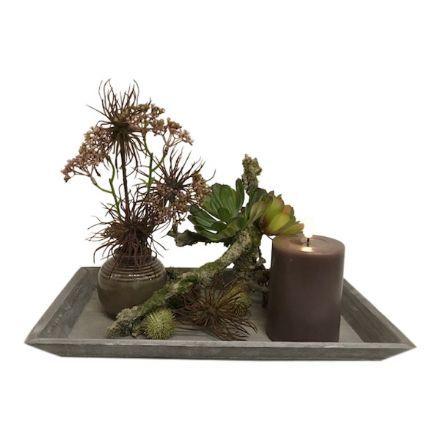 salg af Gaveide, fad m/pynt - 21*36 cm. - kunstige blomster