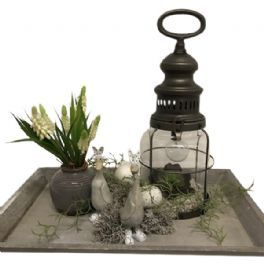 salg af Gaveide, fad m/hvide perlehyasinter - H30 cm. - kunstige blomster