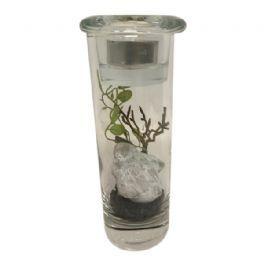 salg af Gaveide, glas til fyrfad m/pynt - 17 cm.