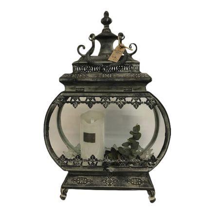 salg af Gaveide, lanterne m/pynt - H60 cm. - kunstige blomster