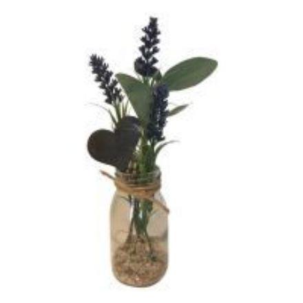 salg af Gaveide, flaske m/lavendel - H22 cm. - kunstige blomster