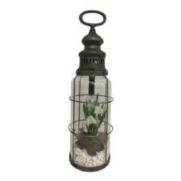 salg af Gaveide, LED lanterne m/vintergækker - H42 cm. - kunstige blomster