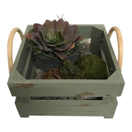salg af Gaveide, trækasse m/pynt - 25*25 cm. - kunstige planter