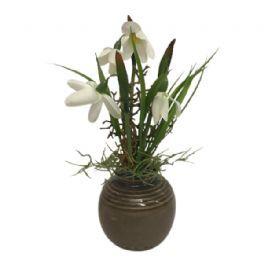 salg af Gaveide, Vase m/vintergæk - 22 cm. - kunstige blomster