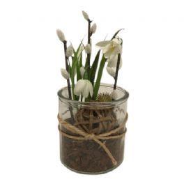 salg af Gaveide, vintergækker i glas - H20 cm.  - kunstige blomster