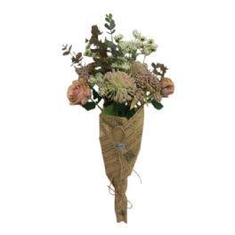 salg af Gl. rosa buket, håndbunden 70 cm. - kunstige buketter
