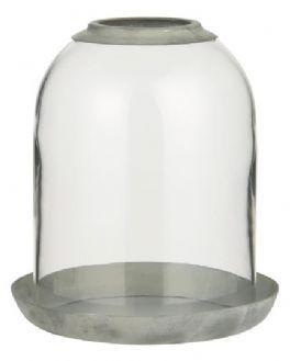 salg af Glasklokke m/hul og metalbund H15 cm.
