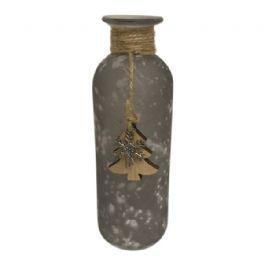 salg af Grå glas flaske m/pynt - 15 cm.