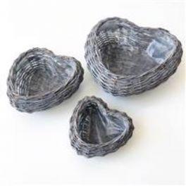 salg af Hjerte kurv m/plast - m.grå - ø25 cm.