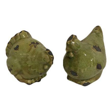 salg af Høne og Hane par - grøn - 13 cm.