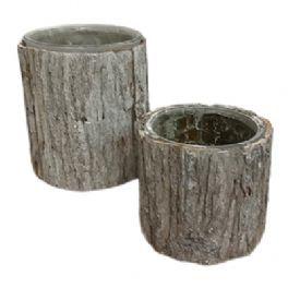 salg af Hvid bark skjuler - Ø13*H15 cm.