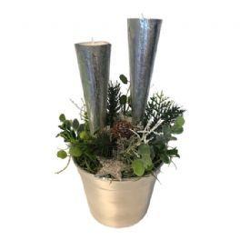 salg af Jule dekoration, m/lys - sølv - 20*28 cm. - kunstige juledekorationer