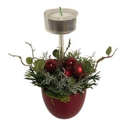 salg af Rød jule dekoration, m/lys - 13*18 cm.- kunstige juledekorationer