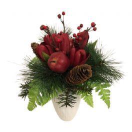 salg af Rød julebuket, håndbunden - kunstige buketter