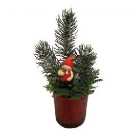 salg af Rød juledekoration, m/gran - 13*22 cm. - kunstige juledekorationer
