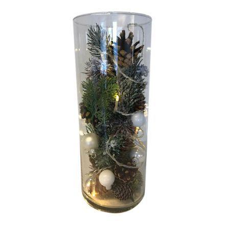 salg af Juledekoration, glas m/pynt & lyskæde - 12*30 cm. - kunstige juledekorationer