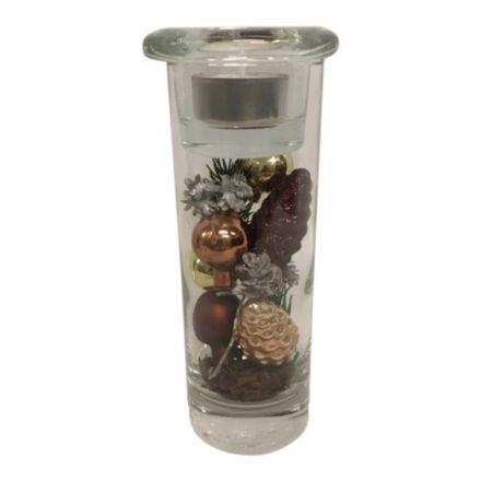 salg af Juledekoration, Guld/brun - glas m/lys - 8*18 cm.  - kunstige juledekorationer