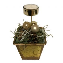 salg af Guld juledekoration, m/lys - 10*15 cm. - kunstige juledekoration