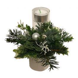 salg af Hvid juledekoration, m/lys - 18*20 cm. - kunstige juledekorationer
