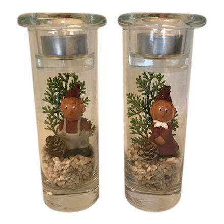 salg af Juledekoration, rød - glas m/fyrfadslys - 8*18 cm. - kunstige juledekorationer