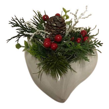 salg af Rød juledekoration, hjerte - 10*13 cm. - kunstige juledekorationer