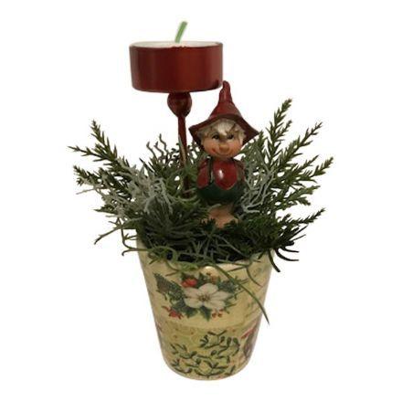 salg af Rød juledekoration, m/lys - 11*16 cm.  - kunstige juledekorationer