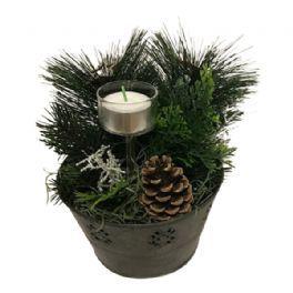 salg af Juledekoration, sink m/lys - 18*20 cm. - kunstige juledekorationer