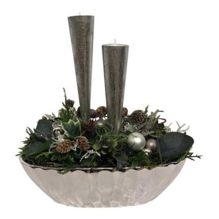 salg af Juledekoration, m/lys sølv - 30*30 cm. - kunstige juledekorationer
