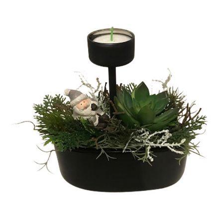 salg af Juledekoration, sort m/lys - 18*18 cm.  -kunstige juledekorationer