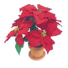 salg af Julestjerne 38 cm. 5 blomster i lerpotte - kunstig julestjerne