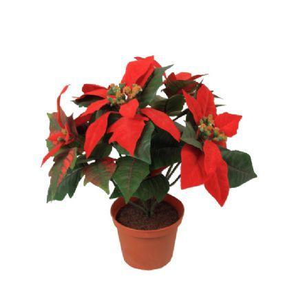 Moderne Julestjerne, 9 blomster i potte, højde 35 cm. - Kunstige julestjerner MG-05