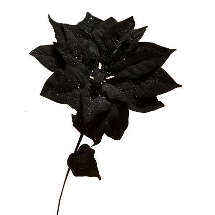 Utrolig Julestjerne sort med sølv glimmer, højde 90 cm. - Kunstige GM-18