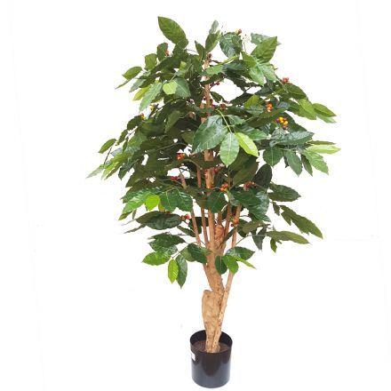 salg af Kaffetræ m/blomster og bær - H140 cm. - kunstige træer