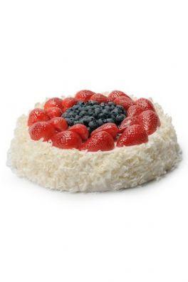 salg af Kunstig lagkage, m/jordbær - Ø23 cm. - kunstige kager