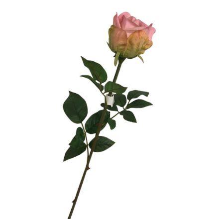 salg af Lyserød rose, 65 cm. - kunstige blomster
