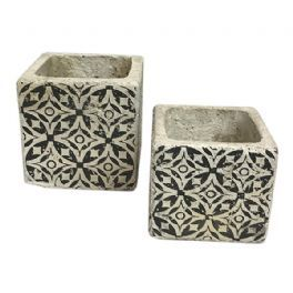 salg af Mørk grå skjuler m/mønster - Ø9,5*H9 cm.