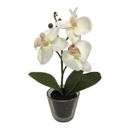 salg af orkide i glas, hvid - 25 cm. - kunstig orkide
