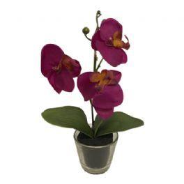 salg af Orkide i glas, lilla - 25 cm. - kunstig orkide